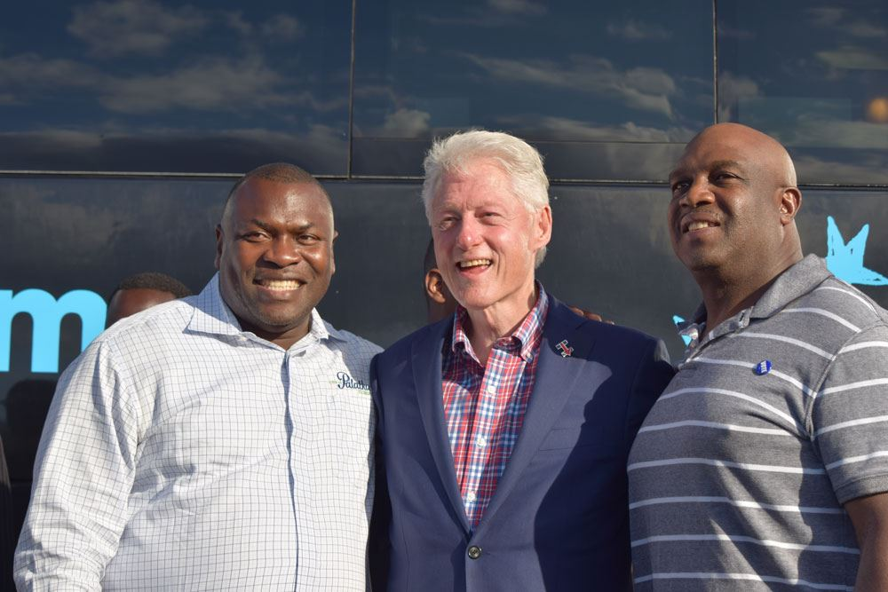 Former President Bill Clinton, Palatka Mayor Terrell Hill and Florida Gator and NFL Great John L. Williams